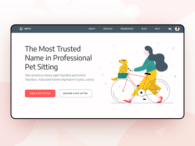 Petty App - UI/UX web design illustrations illustration animals sitters pet pets mobile design app design web design ux ui app web minimal design