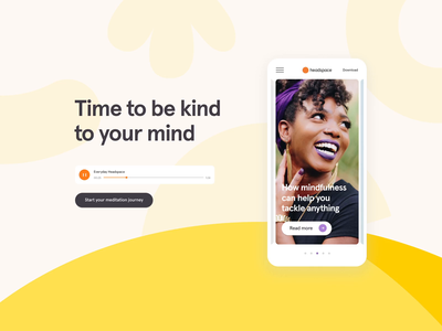 Headspace case study web case study meditation headspace health branding animation ui design