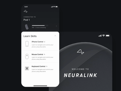 Neuralink - Pod Connection health motion mobile ios design app education brain neuralink ux ui