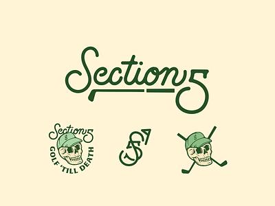 Section 5 logo and marks flag monogram skull academy brand golf typography badge design illustration script logo graphic design branding