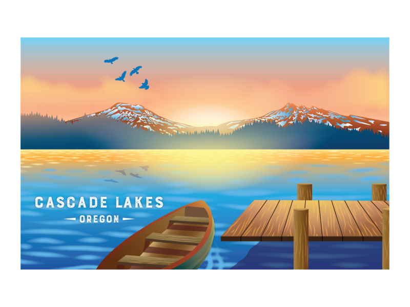 Cascade Lakes design nature illustration digital illustration vector digital art