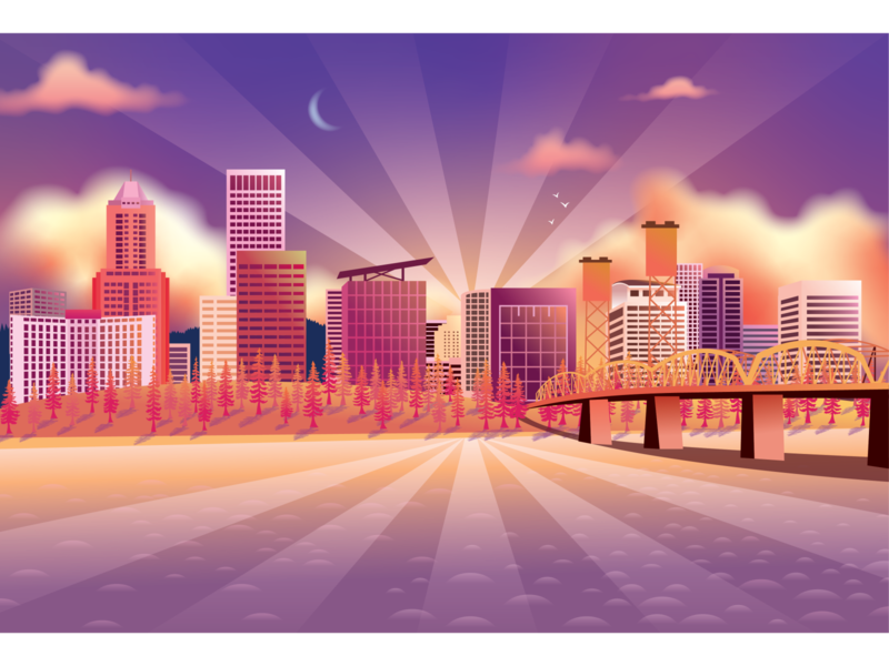 Portland Skyline pdx point perspective color study gradient architecture skyscrapers city skyline portland design nature illustration digital illustration vector digital art