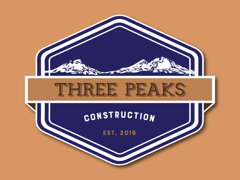 Three Peaks Construction Logo business logo design business logo typography logo branding design digital illustration vector digital art