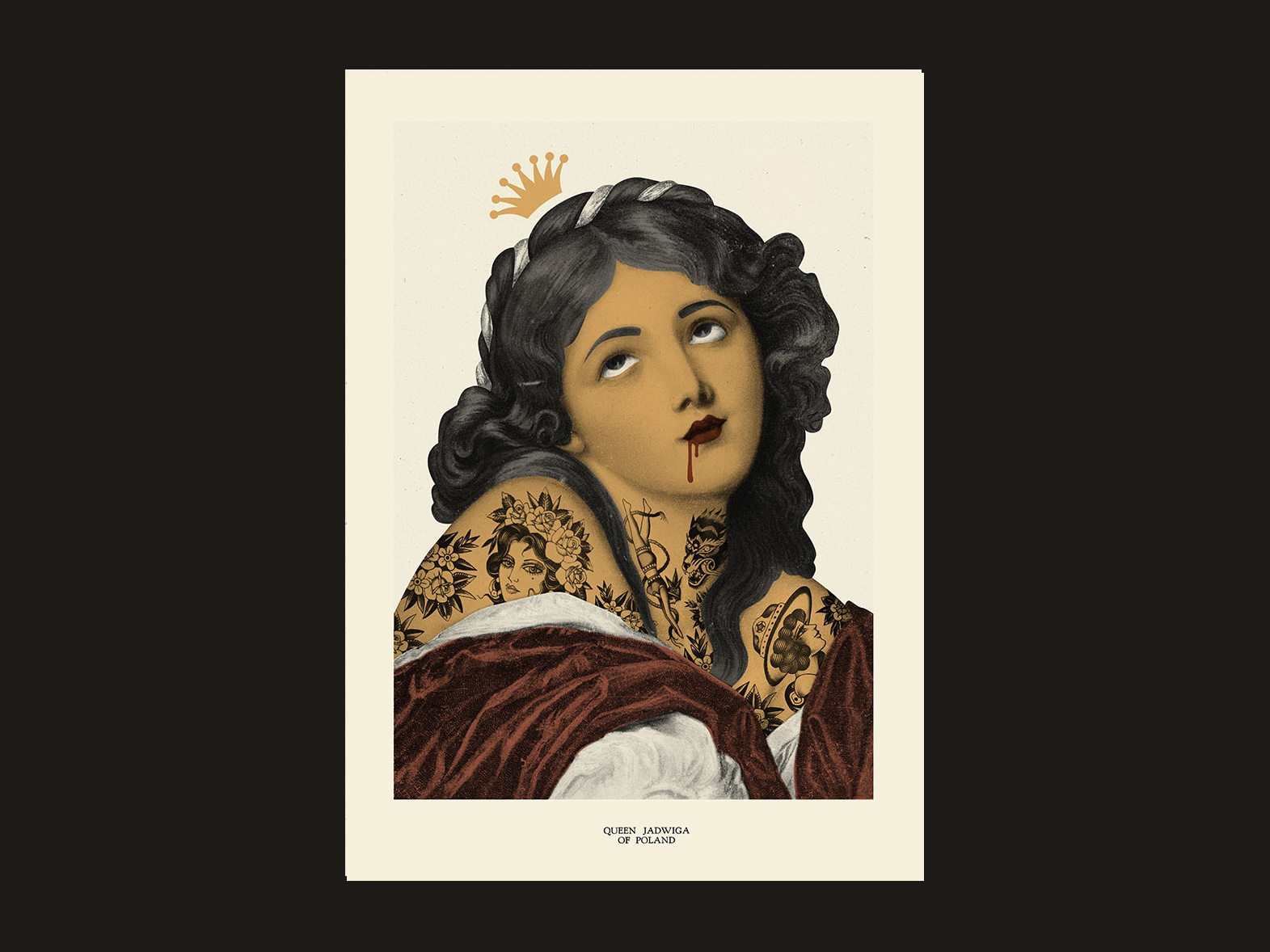 jadwiga queen of poland | poster illustration art queen tattoo art tattoo woman women girls girl actor cutout illustration gigposter collage collage art