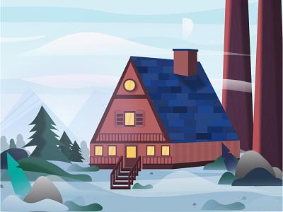 Cabin in the forest forest snow design landscape flat cabaña cottage illustrator clean color geometric illustration forests