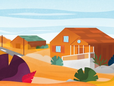 California  Desert design illustrator textured orange red home house california desert texture color illustration