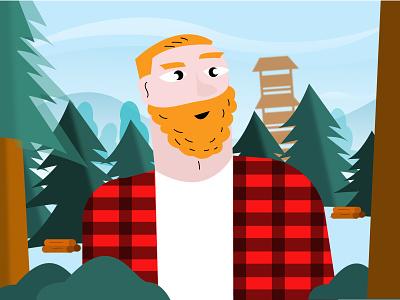 Lumberjack vector landscape character flat design clean characterdesign young man forest lumberjack illustration geometric