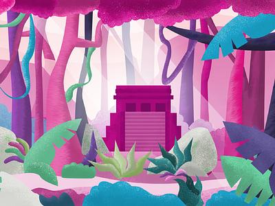 Mayan Jungle colorful inclusive pasteles background landscape jungle pirámide texture color
