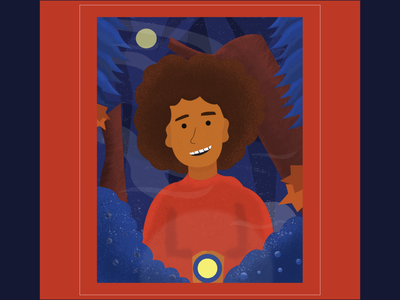 Kid in the forest at night photoshop illustrator portrait night forest kid texture color illustration