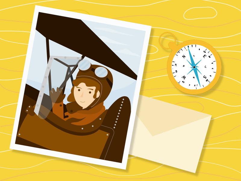 Amelia Earhart table photograph illustraion sky flying plane pilot characterdesign flat character geometric design illustrator illustration