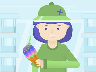Girl and ice cream girl character design illustration ice cream
