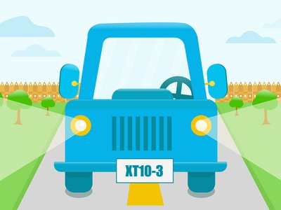 Driving in the country illustration countryside field country geometric car blue driving