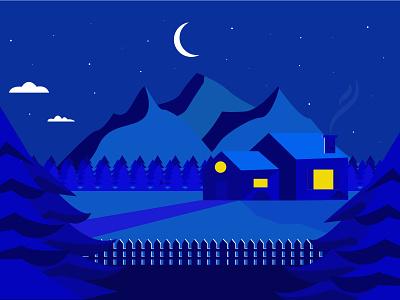 Landscape at night landscape illustration illustrator blue night landscape