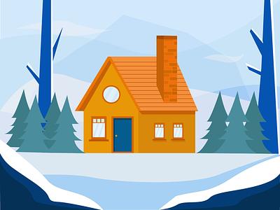 Cottage in the forest landscape illustration vectors ilustración cottage snow