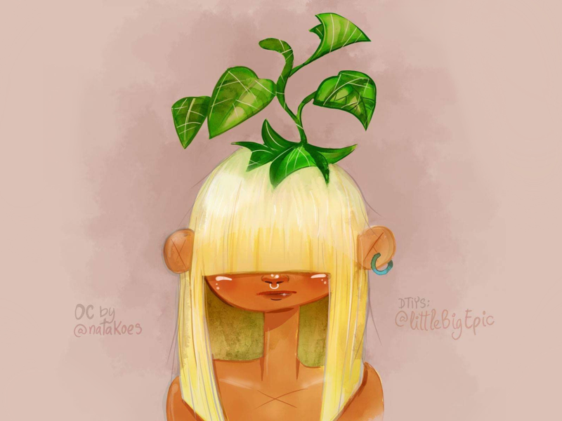 Head plant blonde plants mixed media illustration