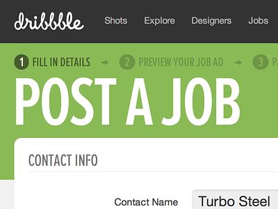 Post a Job dribbble jobs proximanova extracondensed hero
