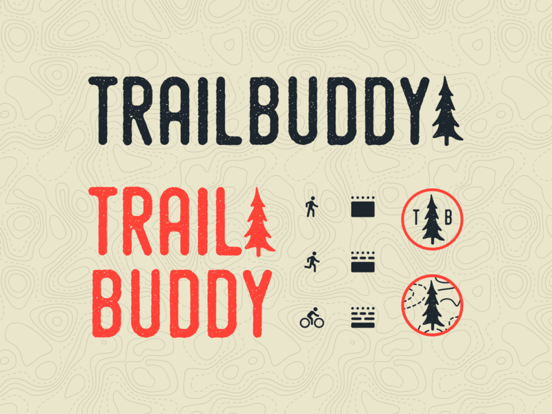 Trailbuddy app soil bike trail running badge viget grainy icons branding texture tree trail hike logo