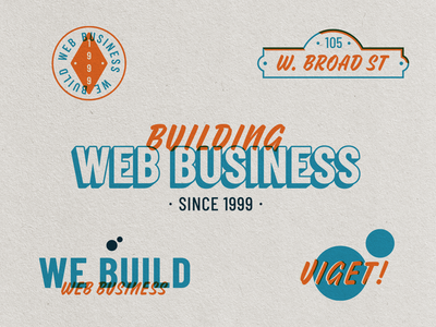 Web Biz branding orange blue business web motto architecture viget vector flat texture text illustration