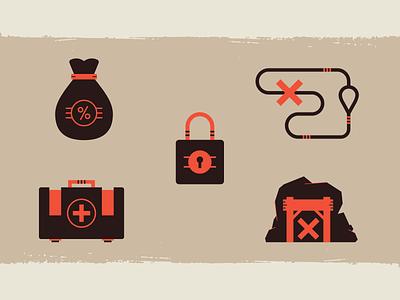 Rhino Ranger Icons flat wildlife pro bono conservation grit vector set icons texture