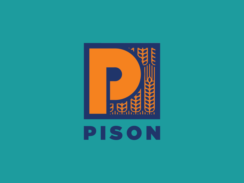 Pison - Unused Option - 02 branding design branding rice p logo p letter pison river 2019 organic food paddy organic rice organic pison illustration logo blue saigon proposal vietnam