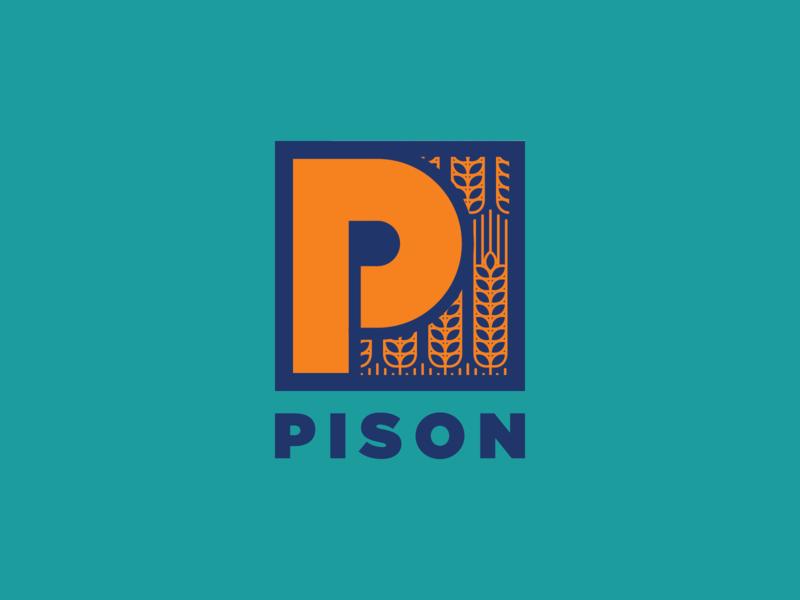 Pison - Unused Option - 02 branding design branding rice p logo p letter pison river 2019 organic food paddy organic rice organic pison illustration logo blue saigon proposal vietnam
