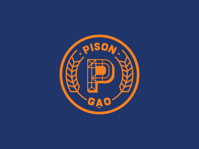 Pison - Unused Option - 03 2019 gạo pison branding design badge paddy organic food organic rice organic rice orange branding blue logo saigon proposal vietnam
