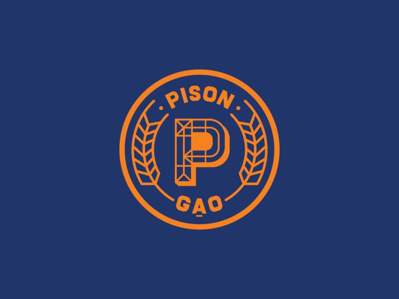 Pison - Unused Option - 03 2019 gạo pison branding design badge paddy organic food organic rice organic rice orange branding blue logo saigon proposal vietnam