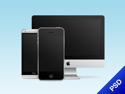 Devices FREE PSD psd free imac htc htc one iphone freebie download devices
