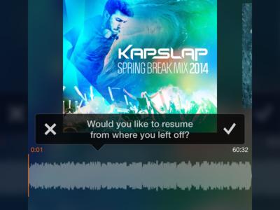 Resume Playback soundcloud soundflake music resume ios iphone app