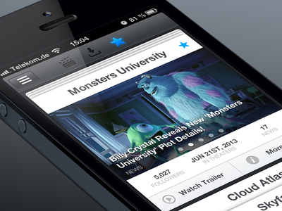 Movie App movie monster university film ios iphone app