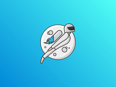 Best Version of Yourself - Astronaut illustration outline illustrations outline logos blue gradient moon astronaut logos illustration