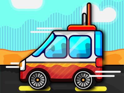 Van In The Desert Illustration
