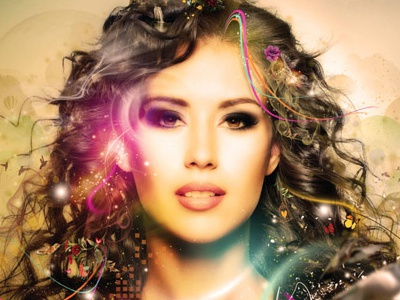 Her Growth photo illustration lighting effects manipulation girl lady beauty swirls colorful futuristic contemporary digital nature