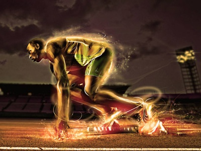Lightning Bolt photo illustration lighting effects illustrator swoosh energy futuristic digital lightning bolt usian bolt athlete olympics