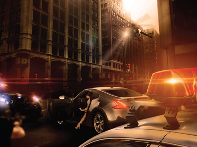 LA Montage Entertainment cinema movie photo illlustration city woman cops police chase helicopter porsche lighting effects