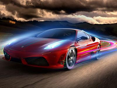 Official Ferrari Case futuristic speed grand prix racing cars formula 1 lotus lighting effect motorsport helmet wheels swoosh photo illustration