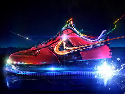 Nike Light nike trainer footwear sneaker nike tick lighting effects illustration nike shoe