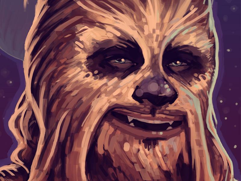 Chewie wookiee chewbacca digital portrait star wars