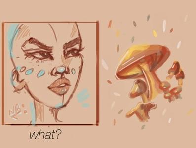 portrait sketch mushrooms