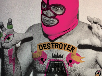 DESTROYER destroyer wrestler lucha libre tattoos rip skull pink illustration photograph photo