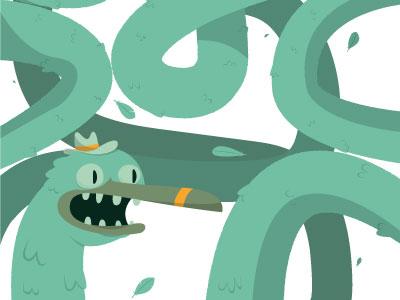 Birdworm monster monsters hat bird worm green illustration fun
