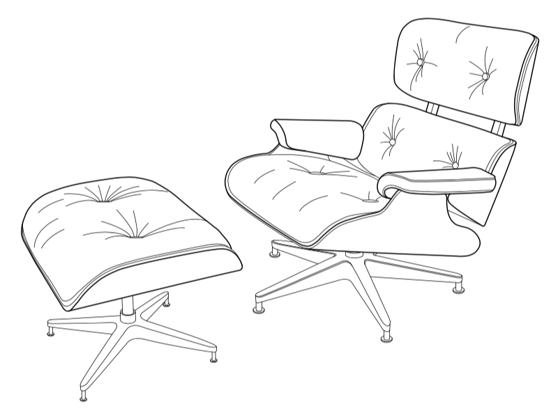 Terrific Eames Lounge Chair And Ottoman By Simply Lines On Dribbble Creativecarmelina Interior Chair Design Creativecarmelinacom