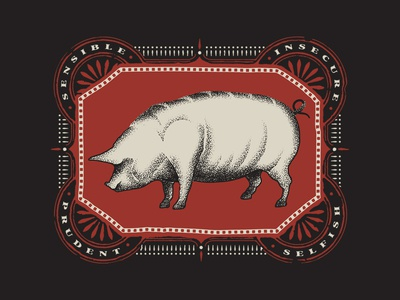 Year of the Pig stippling animal vector illustration