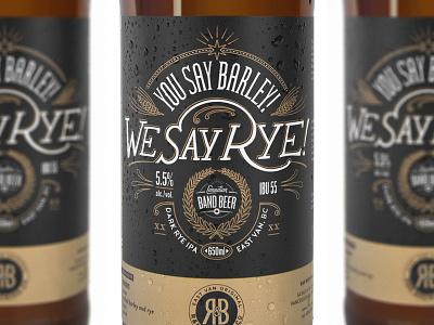 R&B Bottle beer label hand-lettered typography illustration packaging