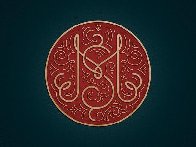 MS monoline filigree monogram badge logo branding illustration lettering typography