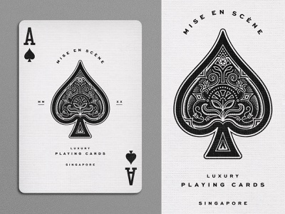 Ace of Spades linework filigree playing cards design illustration typography
