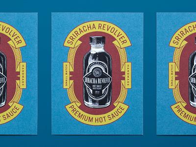 Sriracha Revolver label logo packaging branding illustration typography