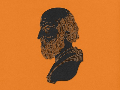 Aeschylus etching engraving monoline portrait illustration