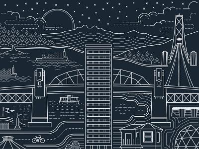 Vancouver cityscape illustration monoline illustration