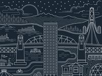Vancouver cityscape illustration